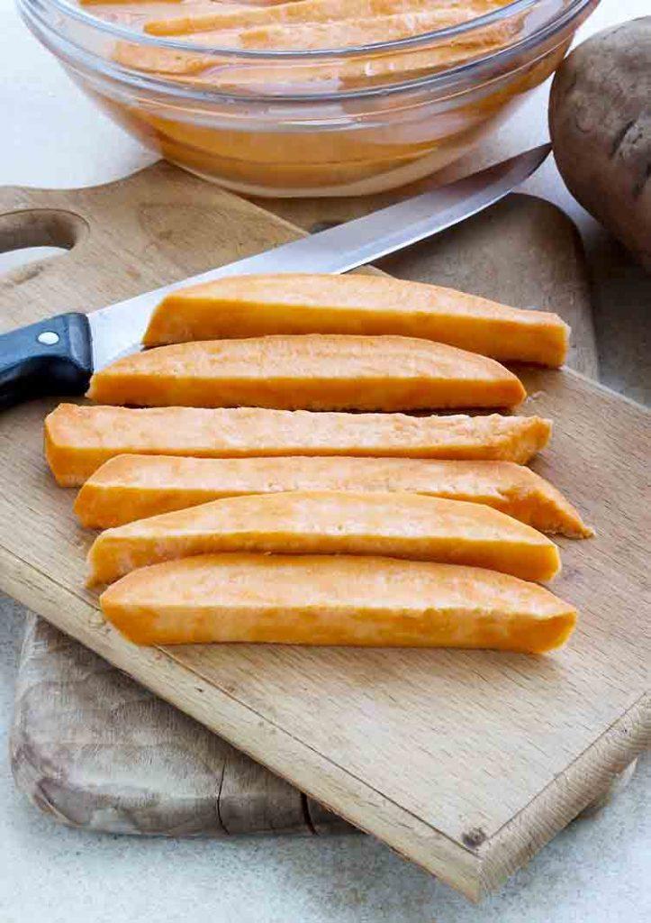 Raw, sliced sweet potatoes