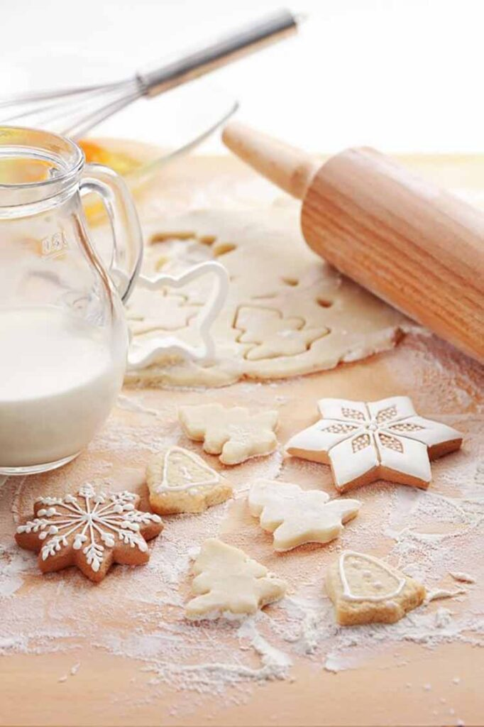 Baking ingredients for Christmas cookies and gingerbread