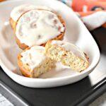 Air Fryer Keto Cinnamon Rolls on a white serving platter.
