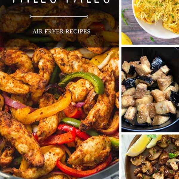A collage of Air Fryer Paleo Recipes for Pinterest.